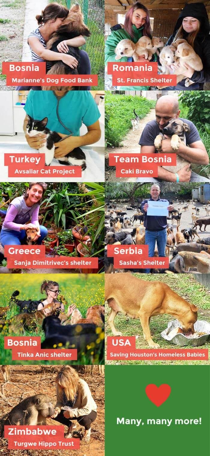 Bosnia - Marianne's Dog Food Bank, Romania - St. Francis Shelter, Turkey - Avsallar Cat Project, Team Bosnia - Caki Bravo, Greece - Sanja Dimitrivec's Shelter, Serbia - Sasha's Shelter, Bosnia - Tinka Anic shelter, USA - Saving Houston's Homeless Babies, Romania - Hope for Dogs, Zimbabwe - Turgwe Hippo Trust, Venezuela - Patis Patis Guau, and Many many more!