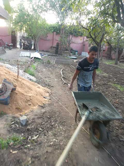 Rescuer doing constructing work around the shelter for rescue dogs in egypt.